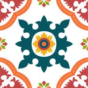 seamless colourful ornament tiles - stock illustration