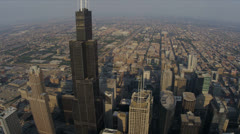 Aerial Sunrise Willis Tower High Elevation Chicago, USA - stock footage