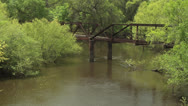 Stock Video Footage of DERELICT OCKLOCKNEE RIVER BRIDGE NEAR JACKIE ROBINSONS'S BIRTHPLACE