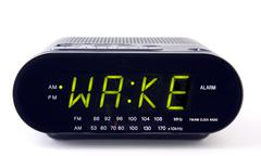 Clock radio with the word wake Stock Photos