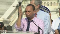 U.S. Representative Luis Gutierrez - Immigration Reform Rally at U.S. Congress Stock Footage