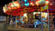 Merry Go Round carousel Carnival ride night Stock Footage
