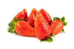 Strawberries with leaves. isolated on a white background. Stock Photos