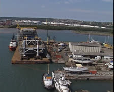 Aerial shot of oil platform topsides on barge in Durban harbour Stock Footage