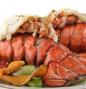 grilled lobster tail  with asparagus - stock photo