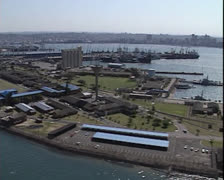 General aerial shot of Durban harbour Stock Footage