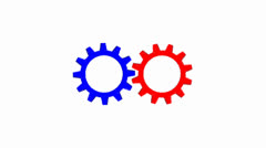 Red and blue cog wheels turning (white background) - stock footage
