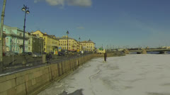 Blagoveshchensky bridge In St. Petersburg Stock Footage