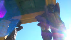 Sculpture of the Atlanteans in St. Petersburg Stock Footage