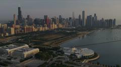 Aerial Chicago Skyscrapers, Millennium Park, Chicago, USA Stock Footage