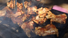 Chicken barbecue close up Stock Footage