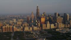 Aerial Sunrise Willis Tower, Chicago Skyline, USA Stock Footage