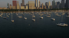 Aerial Low Level view Chicago Skyline, Chicago, USA Stock Footage