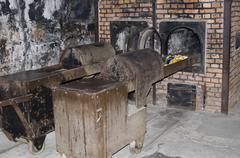Oven for incineration dead bodies in auschwitz - birkenau camp Stock Photos