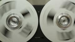 Retro Audio tape recorder rewind the tape, close up HD Stock Footage