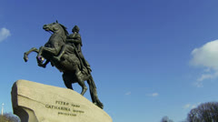 Monument to Peter I on the Senate square in St. Petersburg. Bronze Horseman. Stock Footage