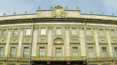 Facade of an old building in St. Petersburg Stock Footage