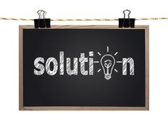 blackboard with solution - stock photo