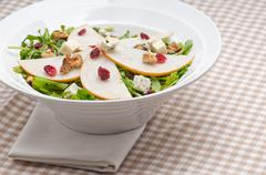 Fresh pears arugula gorgonzola cheese salad Stock Photos