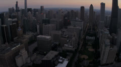 Aerial sunset view John Hancock Tower, Chicago, USA - stock footage