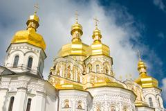 cloudy sky and cupola of orthodox church - stock photo