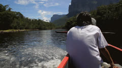 TEPUI'S AND VENEZUELA RIVER BOAT Stock Footage