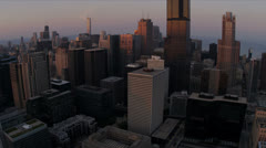 Aerial sunset view downtown skyscrapers Chicago - stock footage