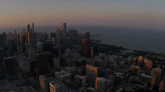 Aerial view city waterfront  from high elevation Chicago, USA Stock Footage