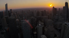 Aerial sunset Chicago skyline and waterfront, Illinois, USA Stock Footage