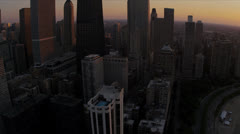 Aerial sunset Chicago skyline and waterfront, Illinois, USA - stock footage