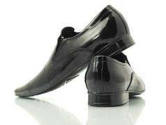 Stock Photo of side and back view of patent-leather shoes