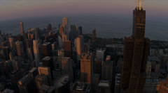 Aerial view of Willis Tower from high elevation Chicago, USA - stock footage