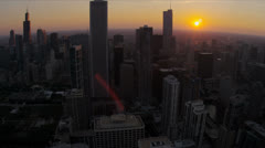 Aerial sunset view downtown skyscrapers Chicago, USA Stock Footage
