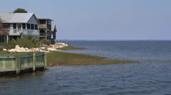 Water, Coastal Houses on Gulf of Mexico in North Florida Stock Footage