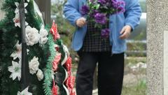 Family Member At The Cemetery Stock Footage