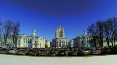 Smolny of the Resurrection of Christ Cathedral in St. Petersburg. Stock Footage