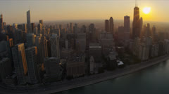 Stock Video Footage of Aerial view Chicago skyline, waterfront, Chicago, USA