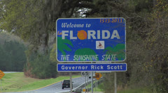Rick Scott, Welcome to Florida sign from South Georgia, Rick Scott Governor Stock Footage