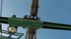Shot of chair lift going over pole Stock Footage