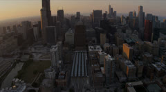 Aerial overhead view Chicago city skyscrapers, USA Stock Footage