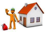 Electrician with house Stock Illustration