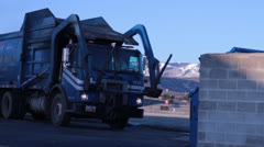 Large Front Load Garbage Truck Stock Footage