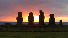 Moai at Tahai on Easter Island during sunset Stock Footage