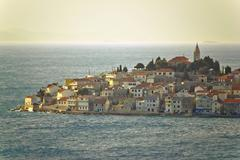 adriatic town of primosten on sea - stock photo