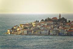 Adriatic town of primosten on sea Stock Photos