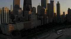 Aerial sunset view skyscrapers Lake Shore Drive, Chicago, USA - stock footage