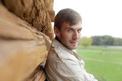 Portrait of young attractive man Stock Photos