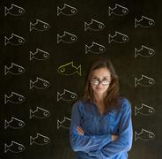 independent thinking business woman, student or teacher - stock photo