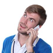 Young man on his mobile phone Stock Photos