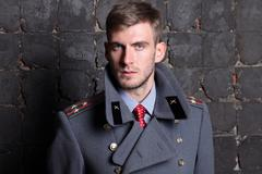 russian military officer - stock photo